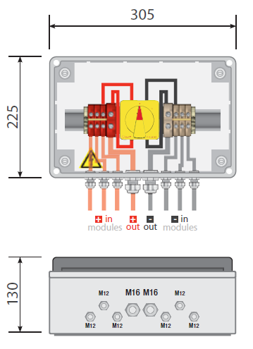pv combiner box 3 way dc fuses 500vdc fuses circuit
