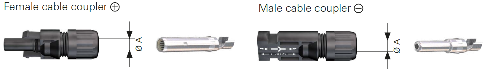 MC4 Contact male and female coupler solar connectors