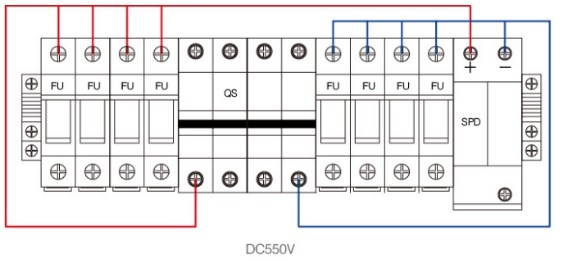 Wiring Diagram of PV Combiner 4way with surge protection