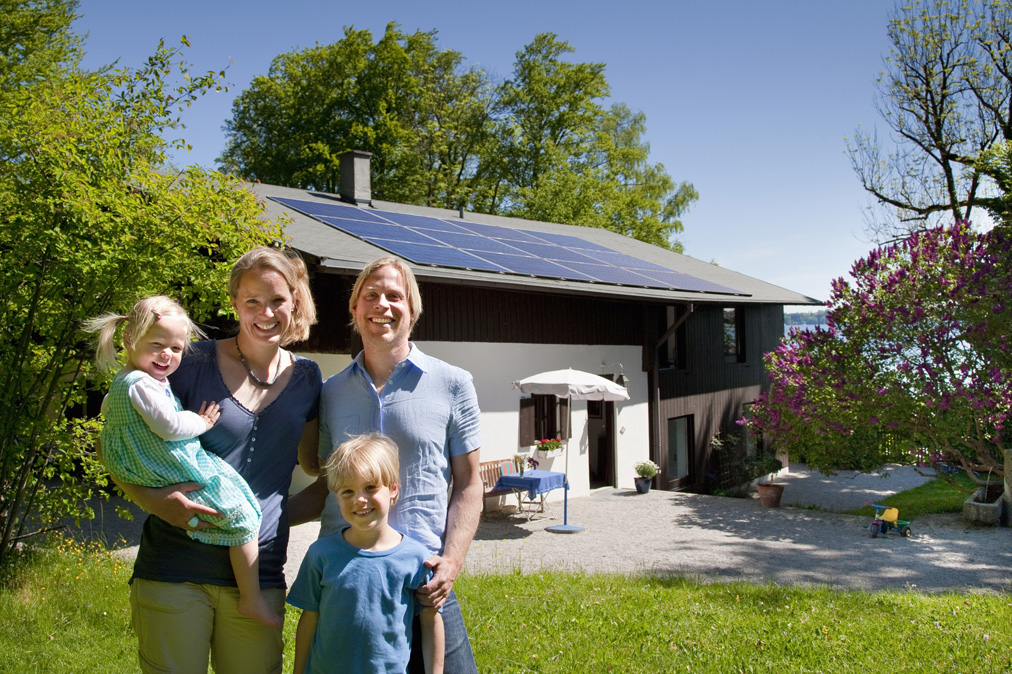 Family enjoys green energy from solar panels and soladin inverter
