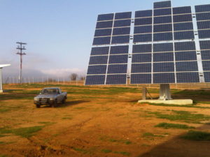 Medium Voltage 150kW solar farm with dual axis sun trackers.