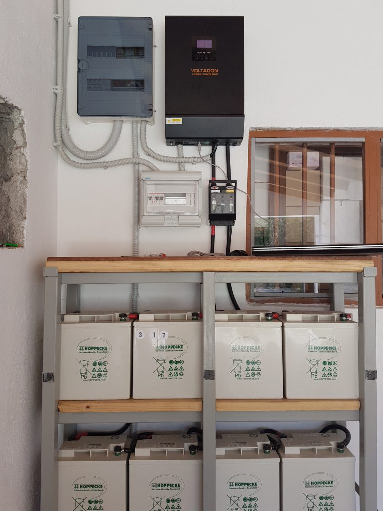 Solar Off Grid System 5kva Installed In Retail Shop Greece Panel Wiring Guide Picture 1 Inverter Charger With Battery Equalilzer 48v Bank Mounted On Metallic Racks Single Phase Consumer Unit