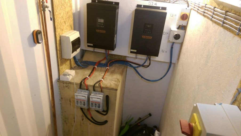 Small off grid system with dual fed power supply, 1200W and 2000W MPPT Conversol. Installed in Cyprus