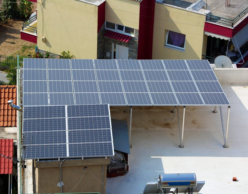 Solar panels installed on terrace in Spain