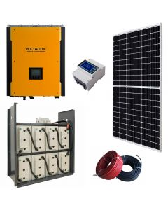 Solar photovoltaic system for home grown energy with lead acid GEL batteries. The system is delivered with all the components including cables, energy meters and cabinet for the batteries