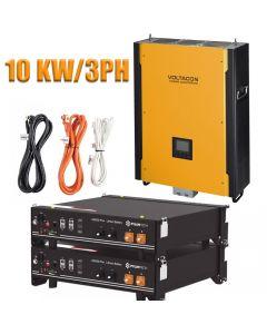 Voltasol Hybrid Inverter 10KW 3-Phase & Pylontech Lithium Battery