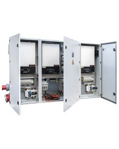 Triple Silent Power Cabinet. Industrial quality made available to all our customers. This cabinet is configurable to 15kW or 24kW single and three phase. Battery based at 48V. Compatible with lithium and AGM batteries