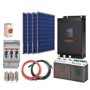 Off-Grid Solar Kit 1000W 12V. AGM Batteries. V-Basic Power
