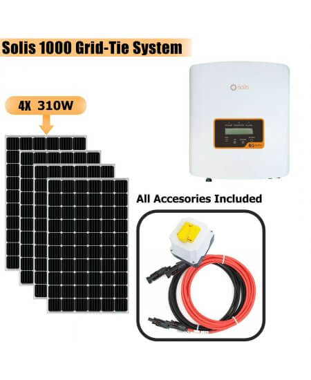 Solis 1000W Grid Tie System with Solar Panels 4x 310W