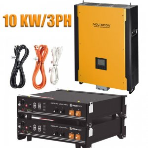 Voltasol Hybrid Inverter 10KW 3-Phase & Pylontech Lithium Battery