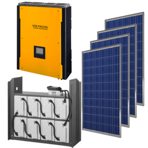 Complete solar kit for grid connection and batteries