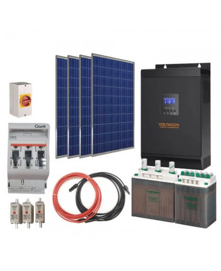 Off-Grid Solar Kit 1500VA 12V. AGM Batteries. V-Power Station