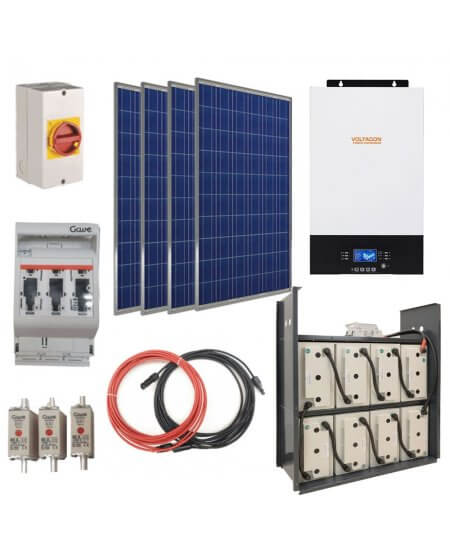Supreme 5kVA Off-Grid PV System. Single Phase. GEL Batteries 6.4kW up to 22kWh.