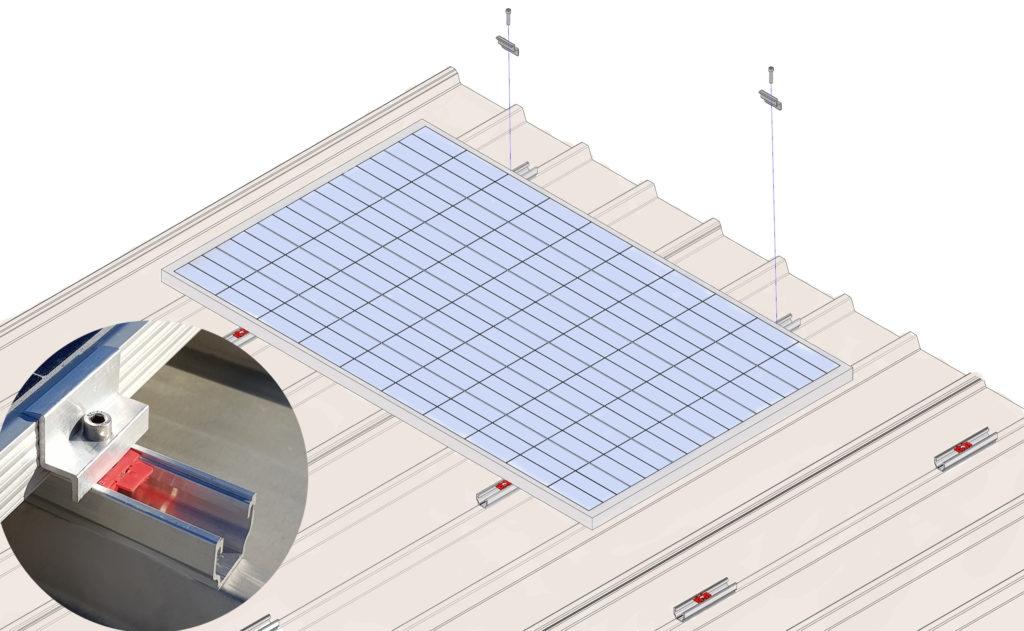 Easy plan rail for coplanar solar roof
